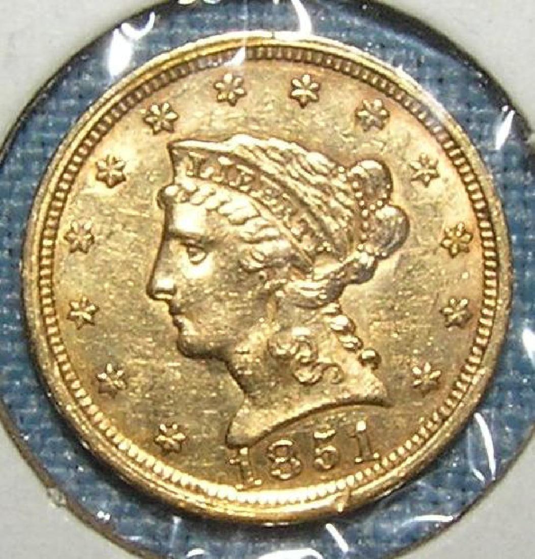 1851 2 1/2 dollar Liberty Head gold piece