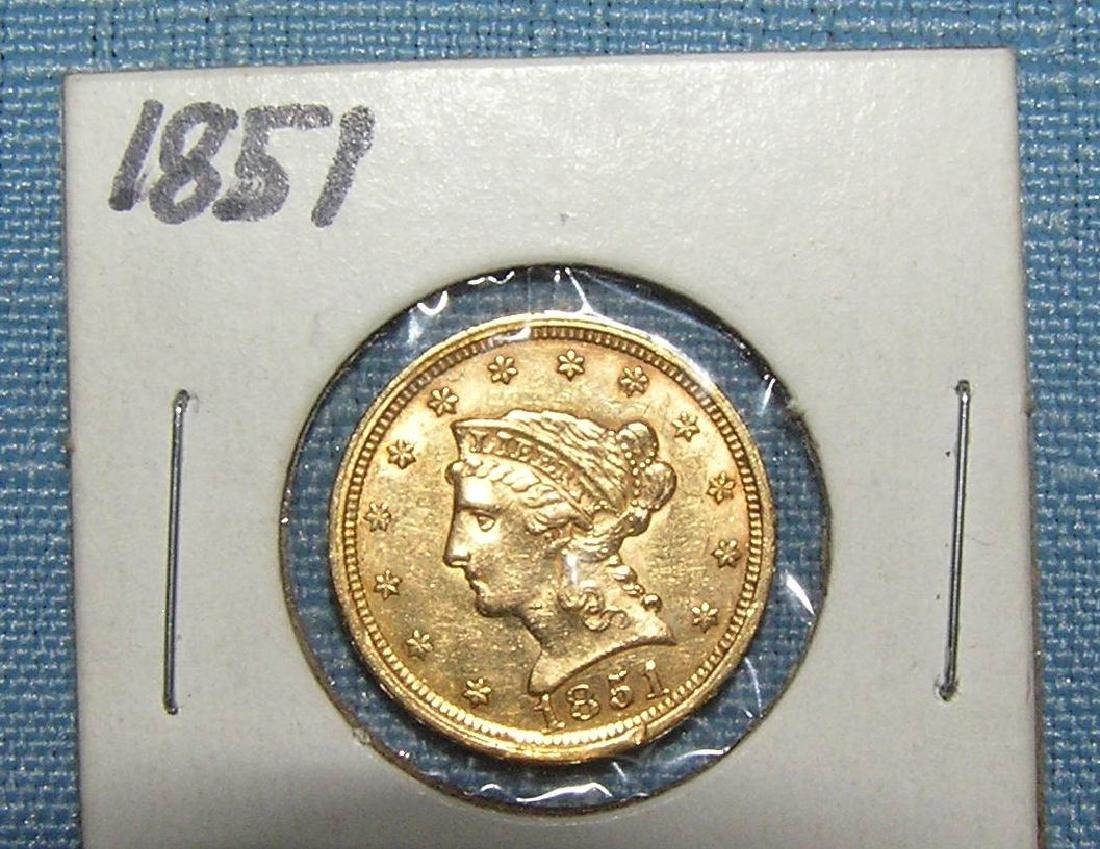 1851 2 1/2 dollar Liberty Head gold piece - 3