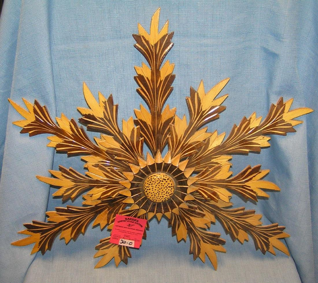 Carved wooden center sunflower wall display