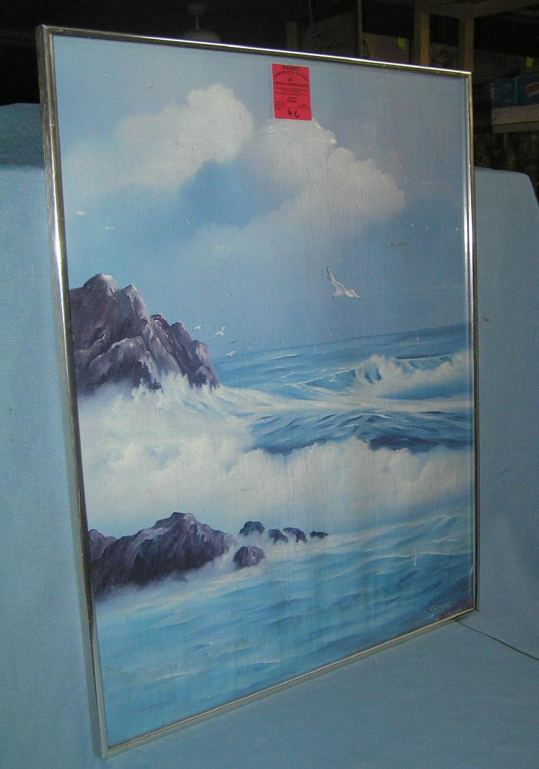 Framed aluminum and glass ocean scene