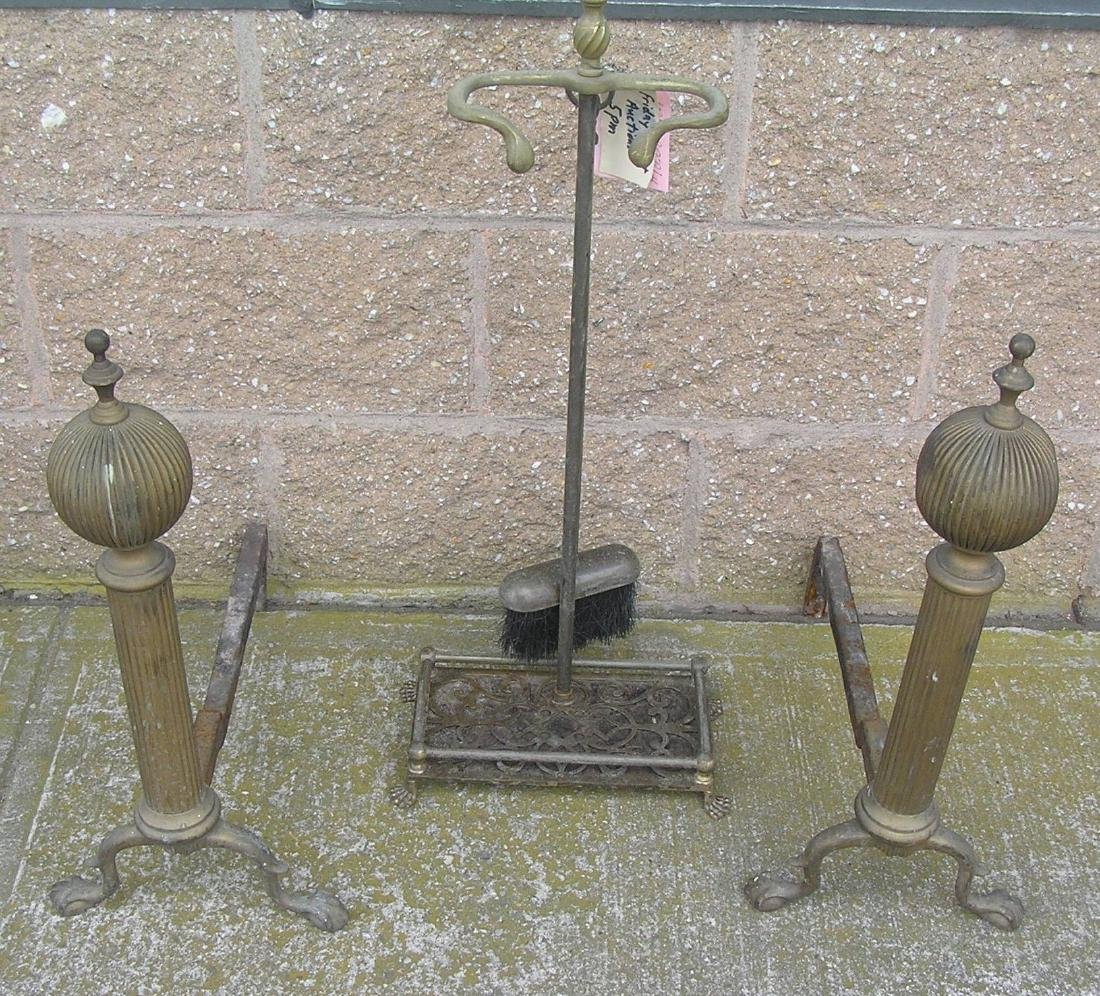 4pc. brass and iron fireplace set