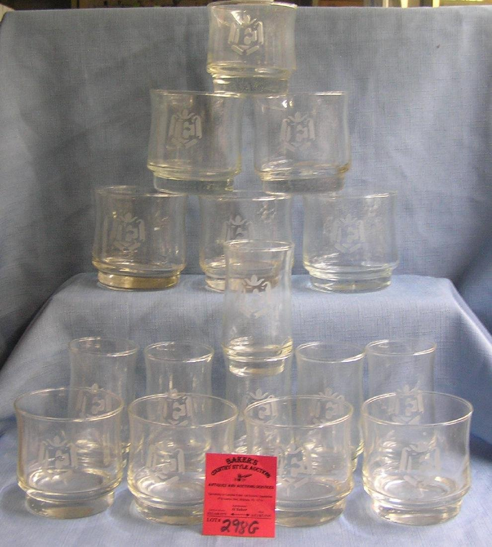 vintage and etched glass and drinking glasses
