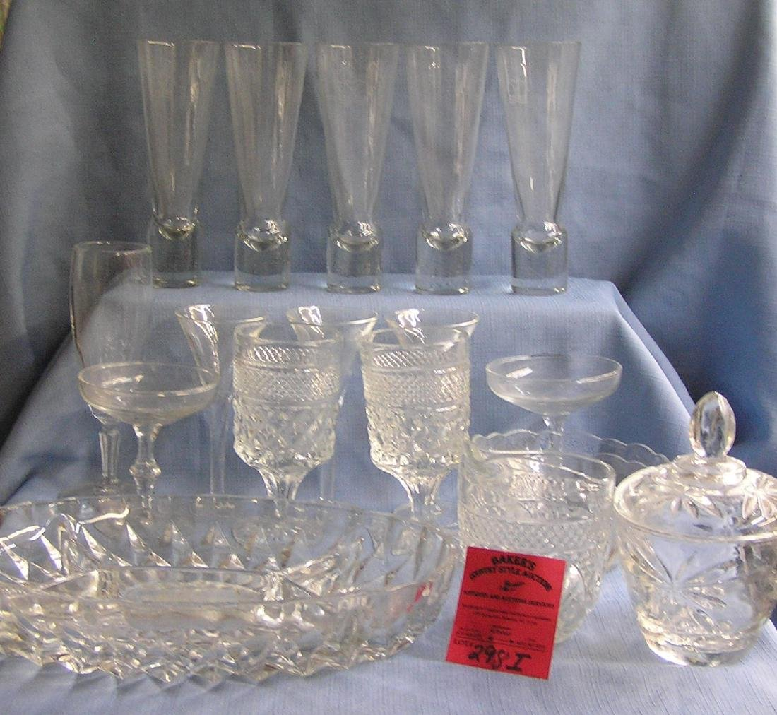 Large box of vintage glass and crystal