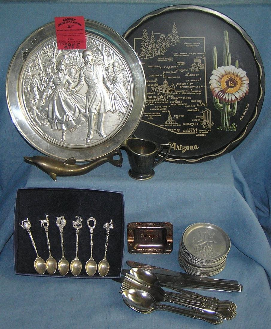 Box full of vintage silverplate and metalware