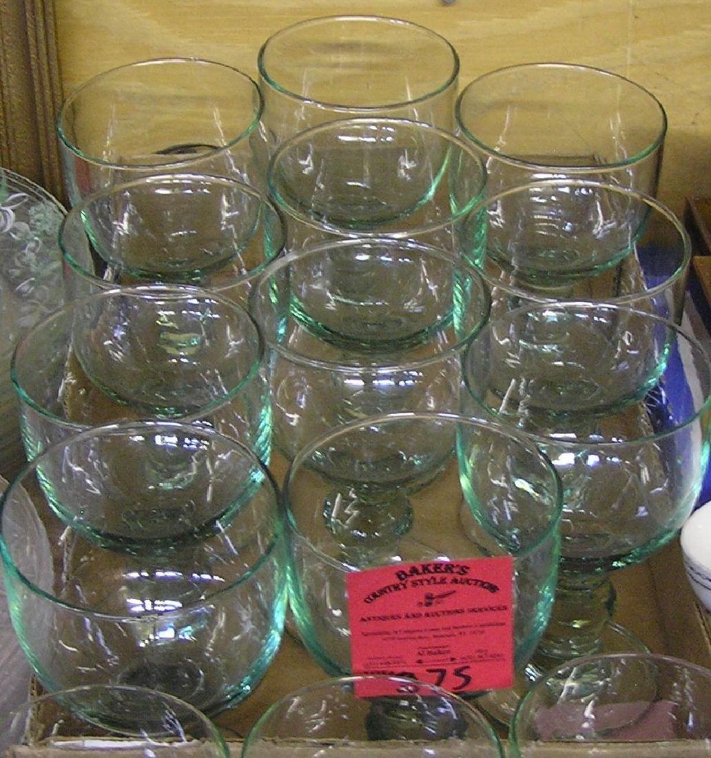 Set of  green art glass drink glasses