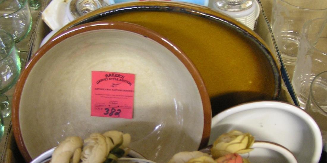 Box of vintage estate stoneware serving bowls