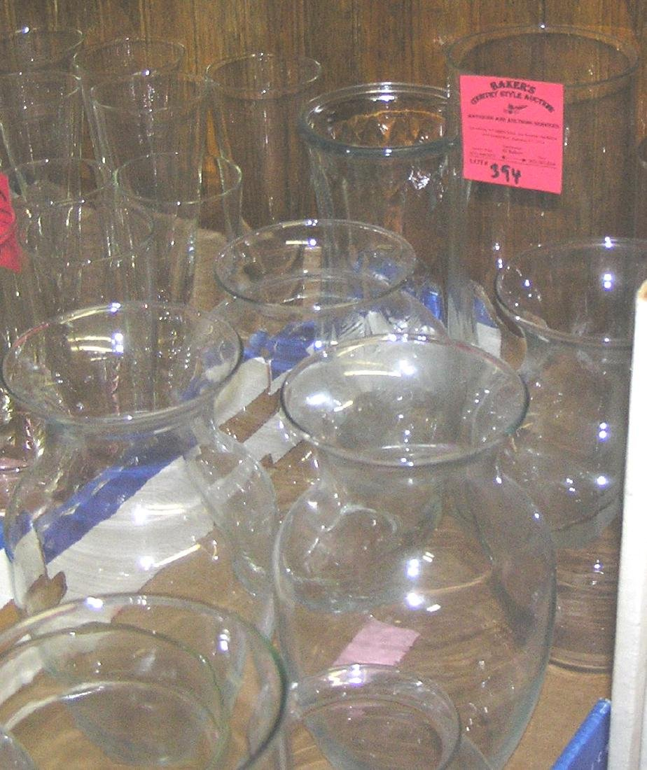 Large box of glass and crystal flower vases