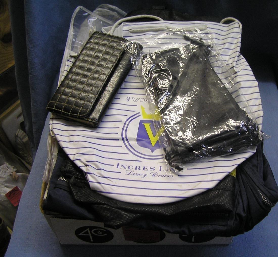 Box full of vintage travel bags
