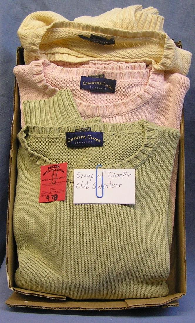 Group of vintage Charter Club sweaters