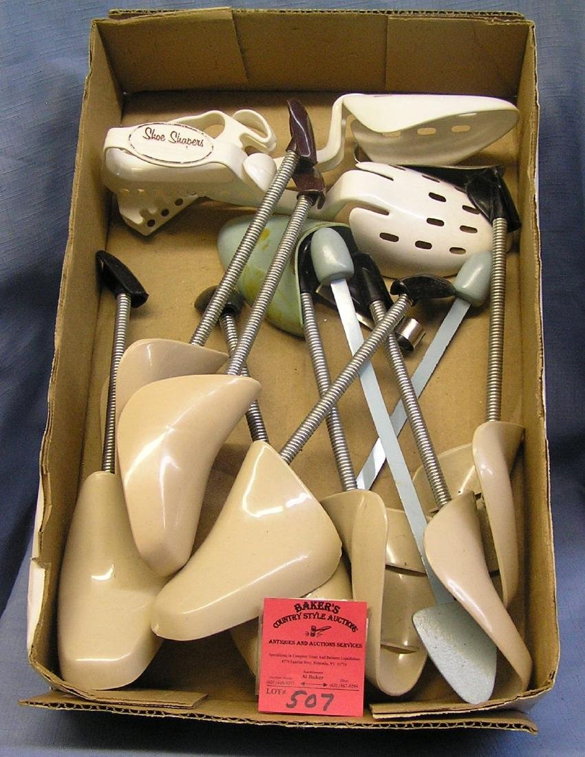 Box of vintage shoe stretchers