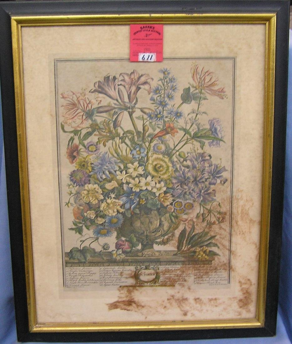 Early floral print in antique frame