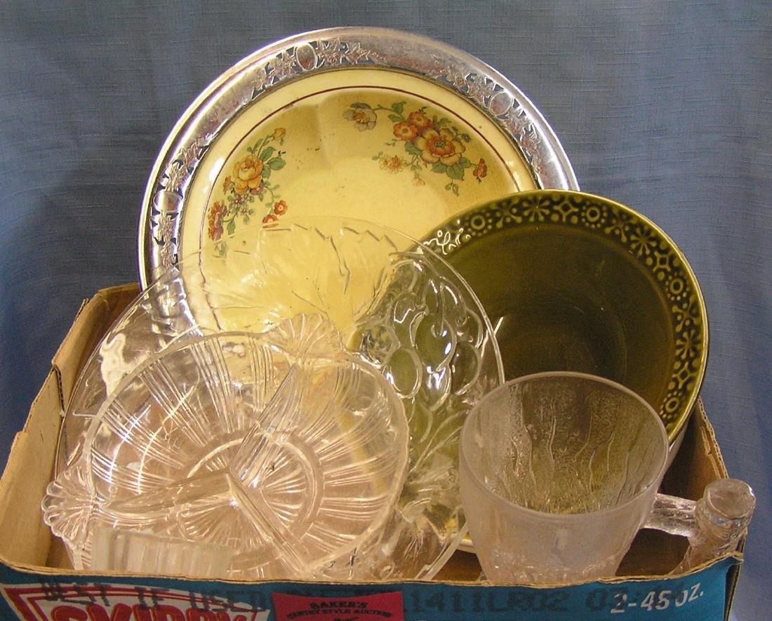 Box of estate glassware and porcelain bowls