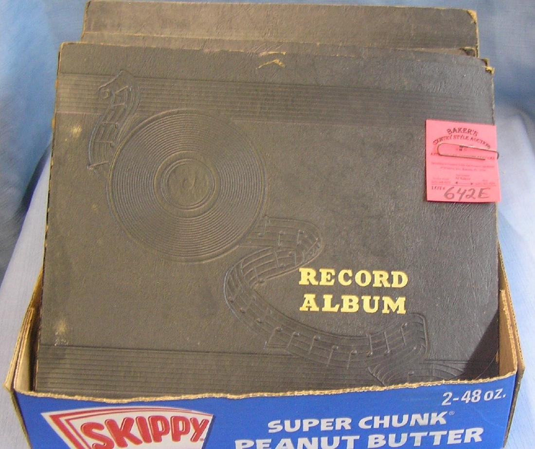 Large group of antique 78rpm records in albums