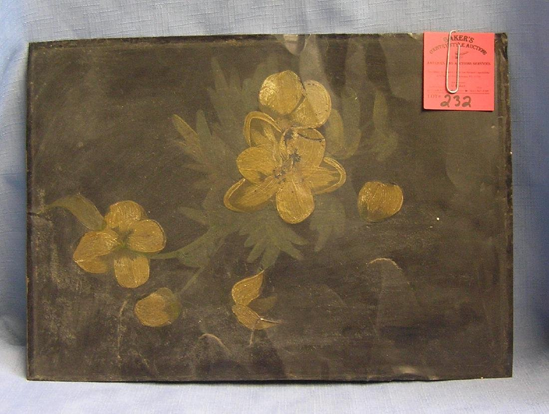 Hand painted floral painting on tin