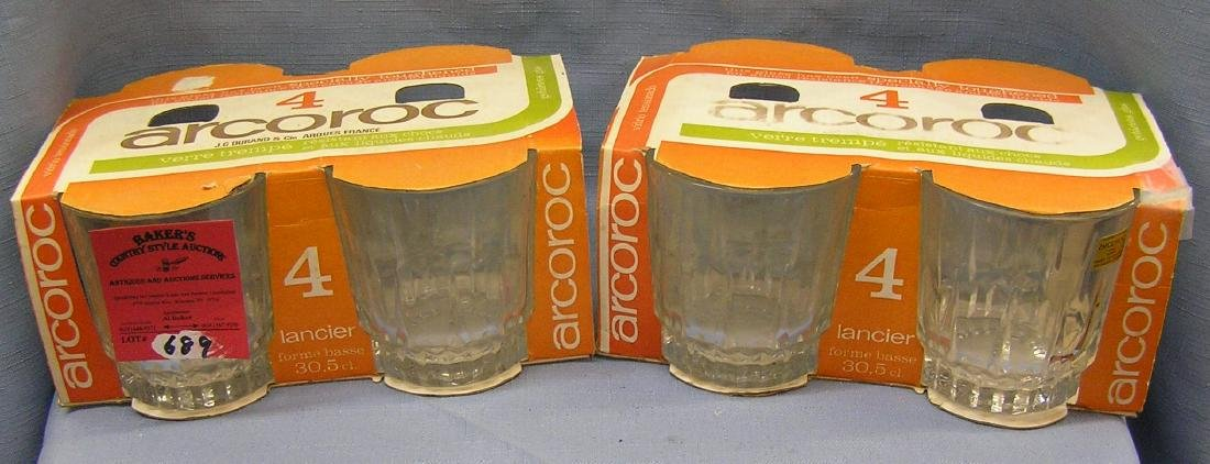 French drink glasses both new in box