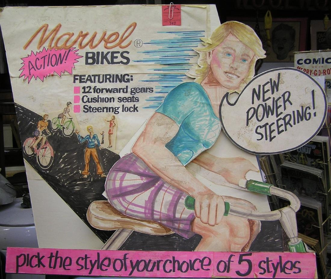 Marvel Bicycles advertising store display