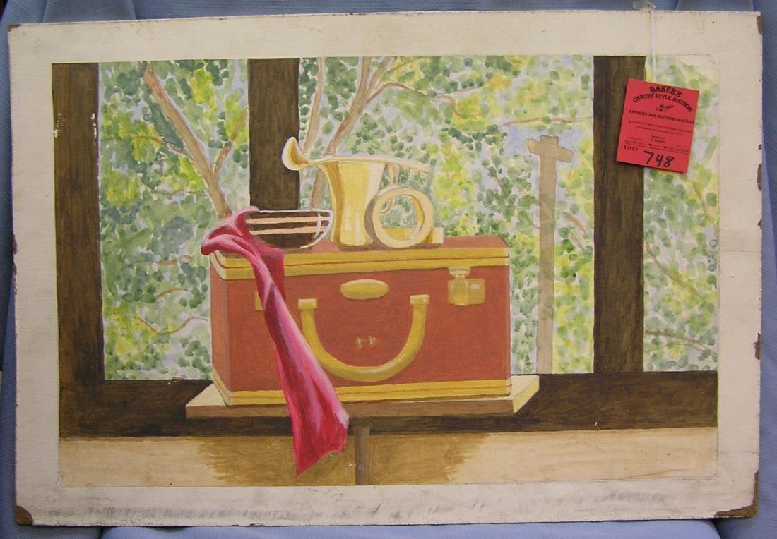 Vintage still life painting on board