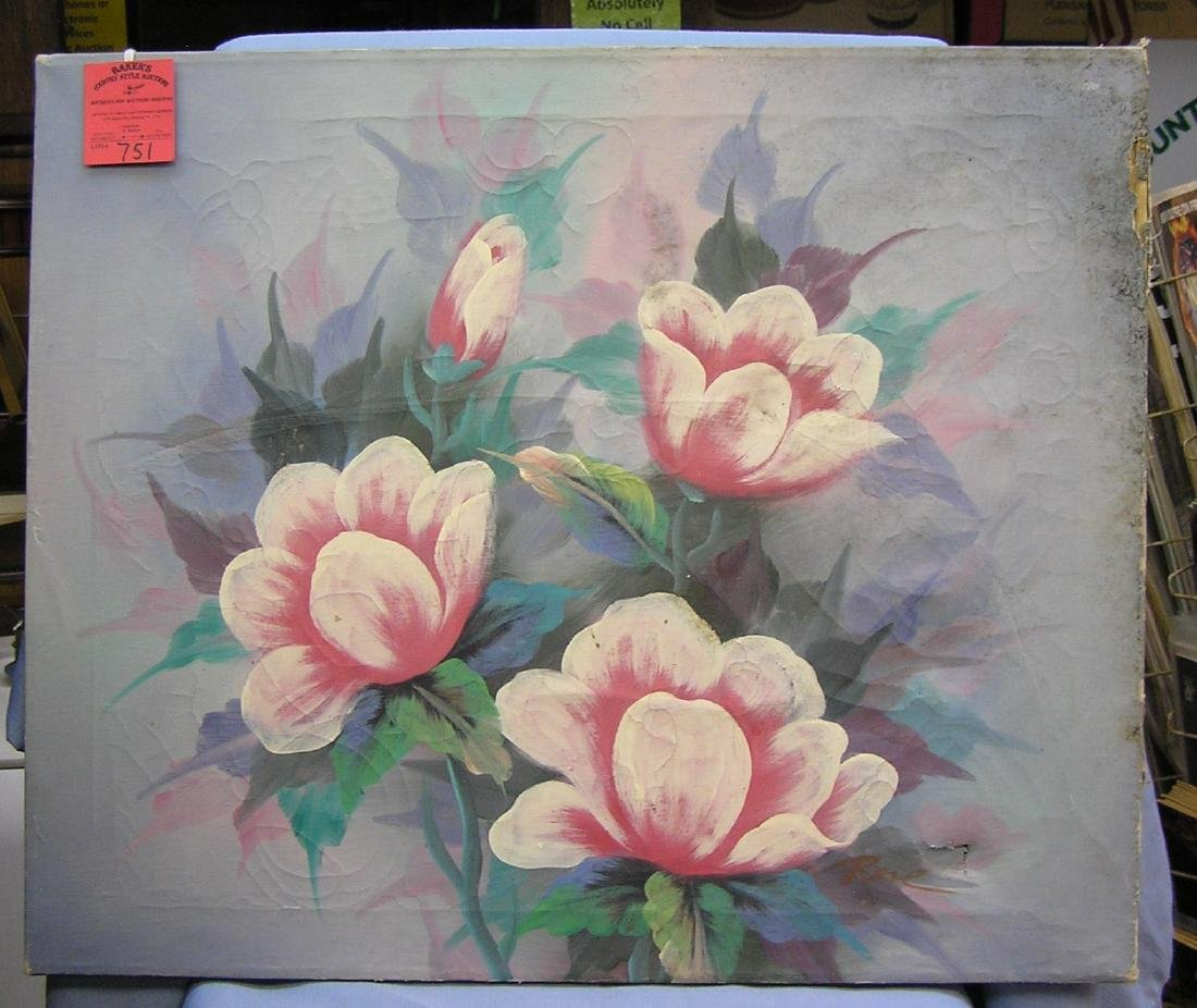 Oil on canvas floral painting condition as found