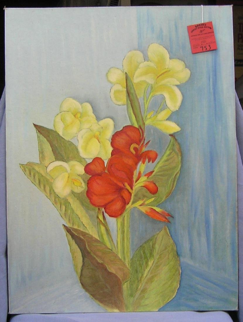 Floral oil on board painting