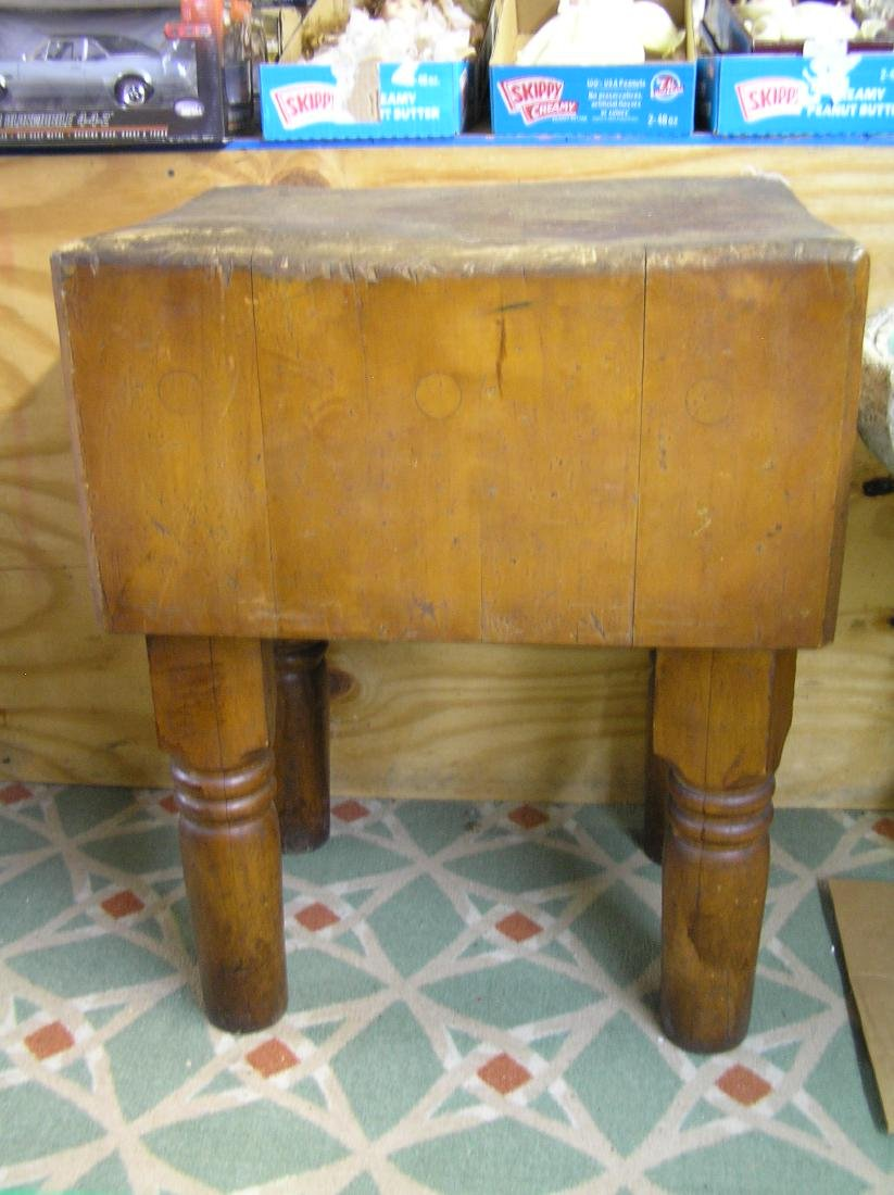 Antique butcher block table