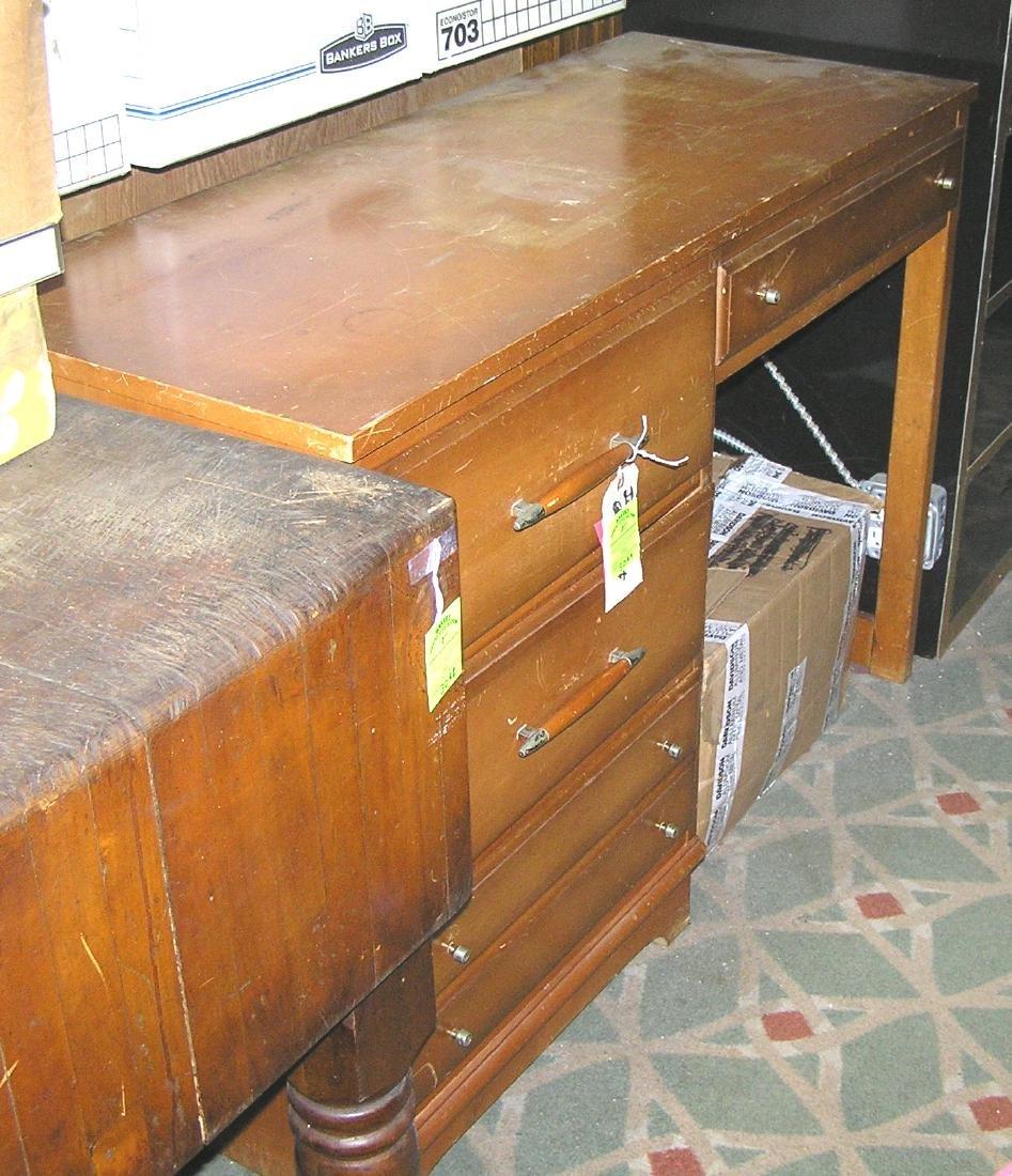 Vintage maple four drawer desk