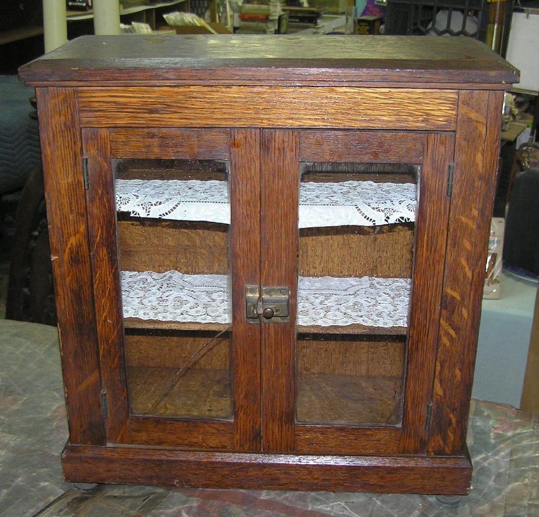 Antique oak 3 shelf cabinet circa early 1900's