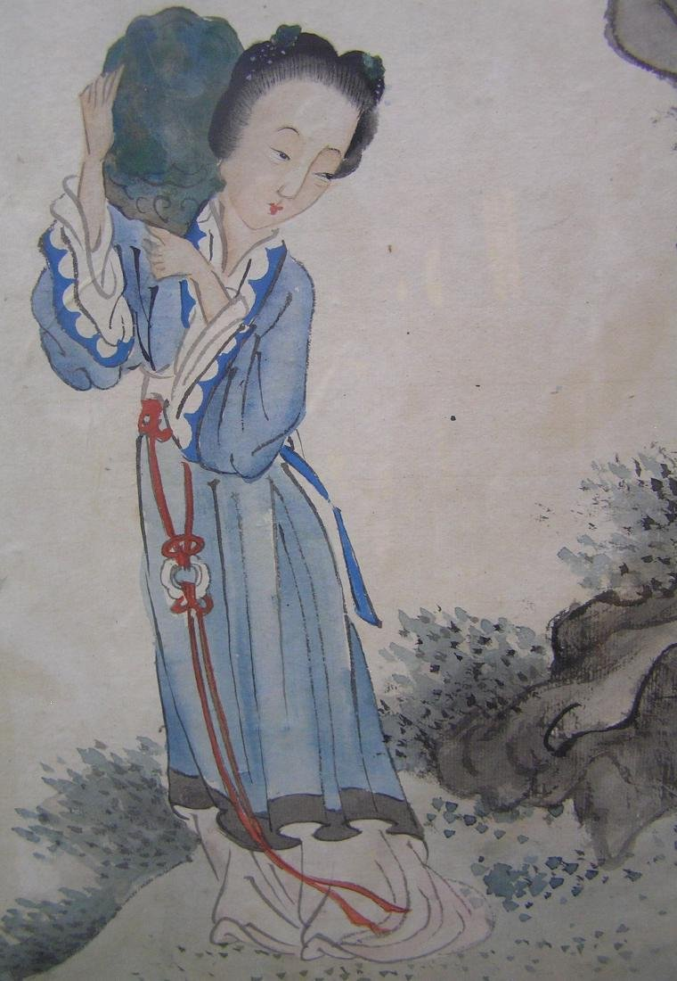 Large framed oriental water color painting - 2