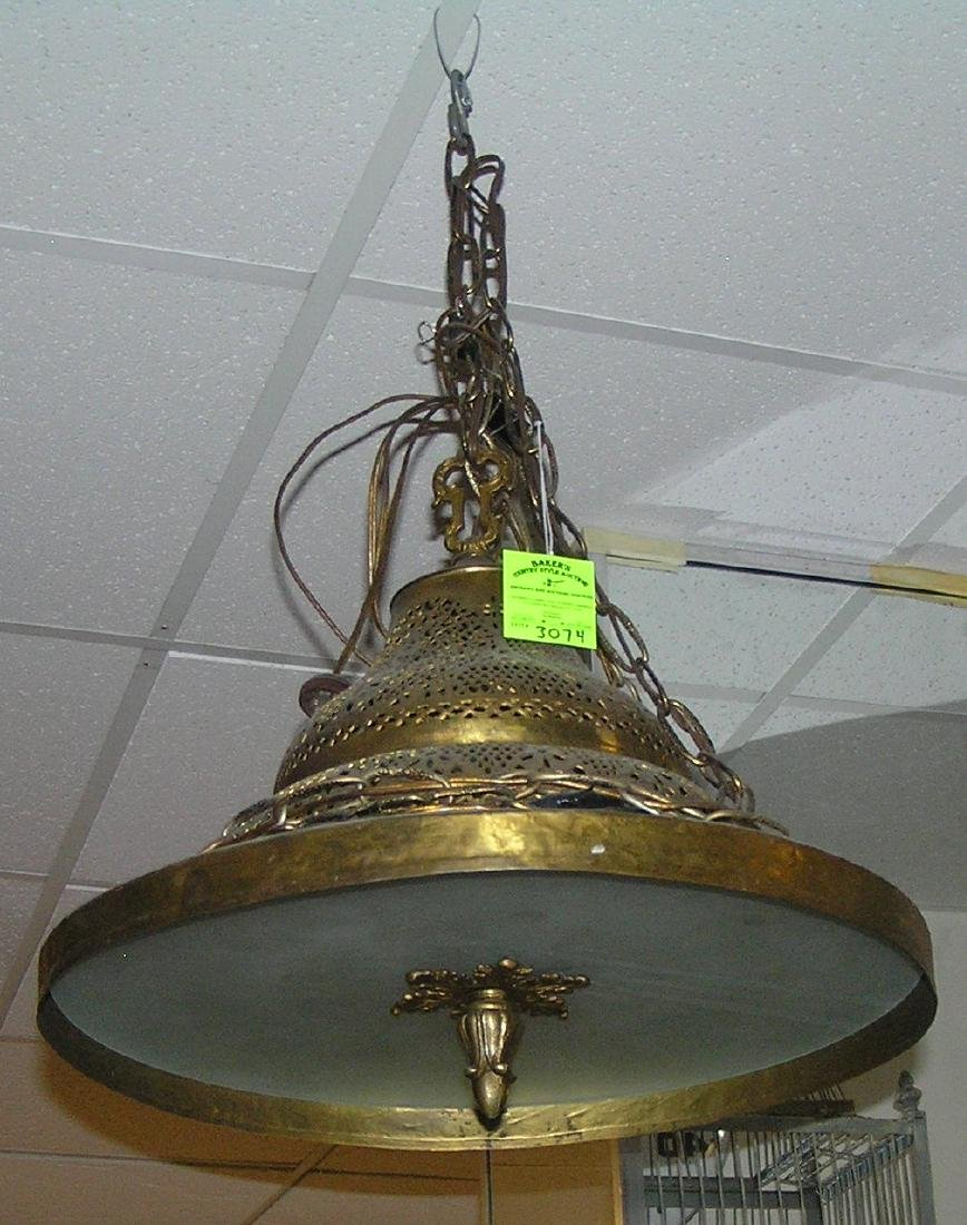 Antique pierced solid brass hanging chandelier