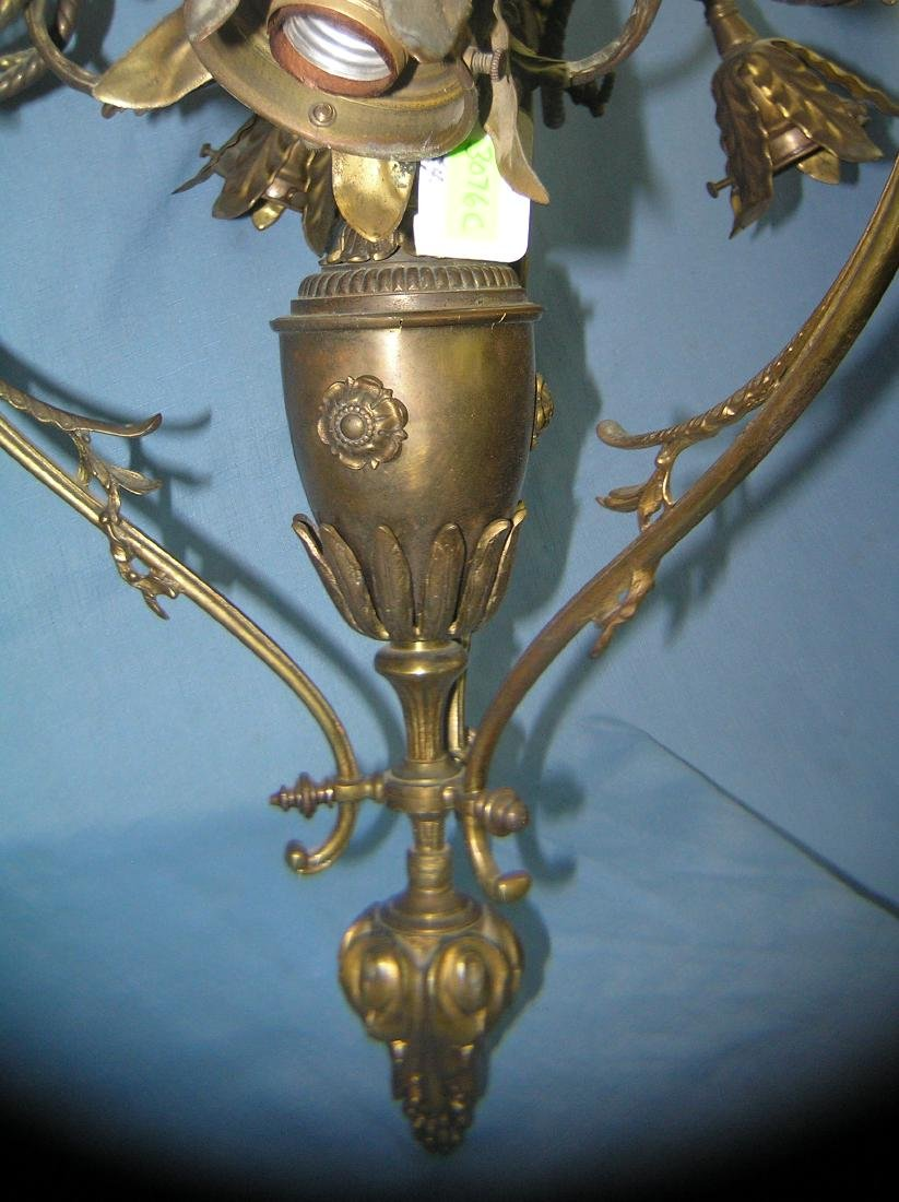 Solid brass chandelier with leaf decorations - 3