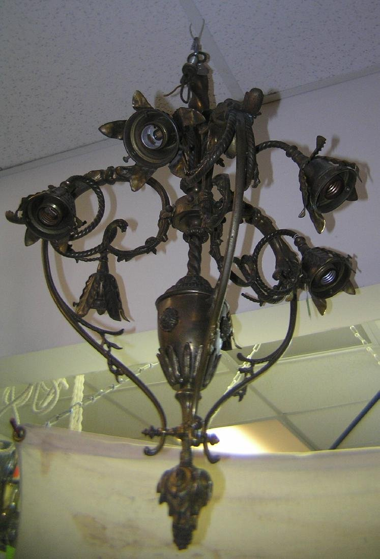 Solid brass chandelier with leaf decorations - 5