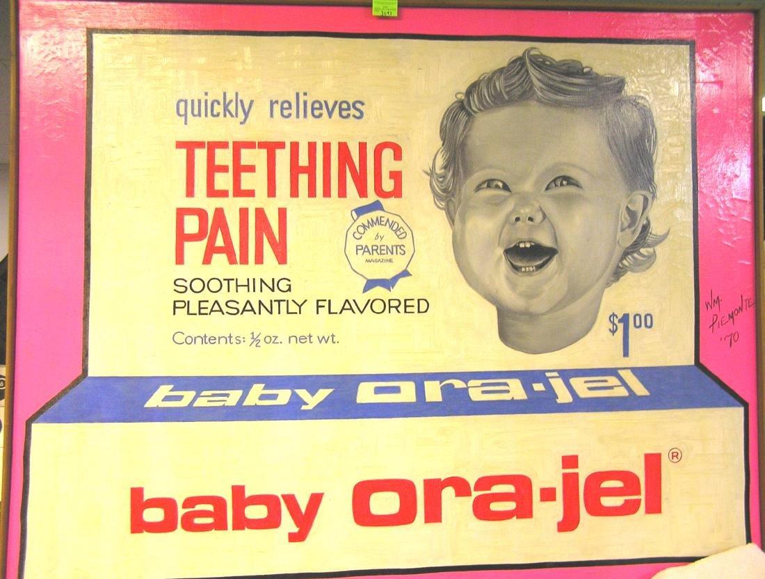 Vintage baby Ora-Gel artist signed painting