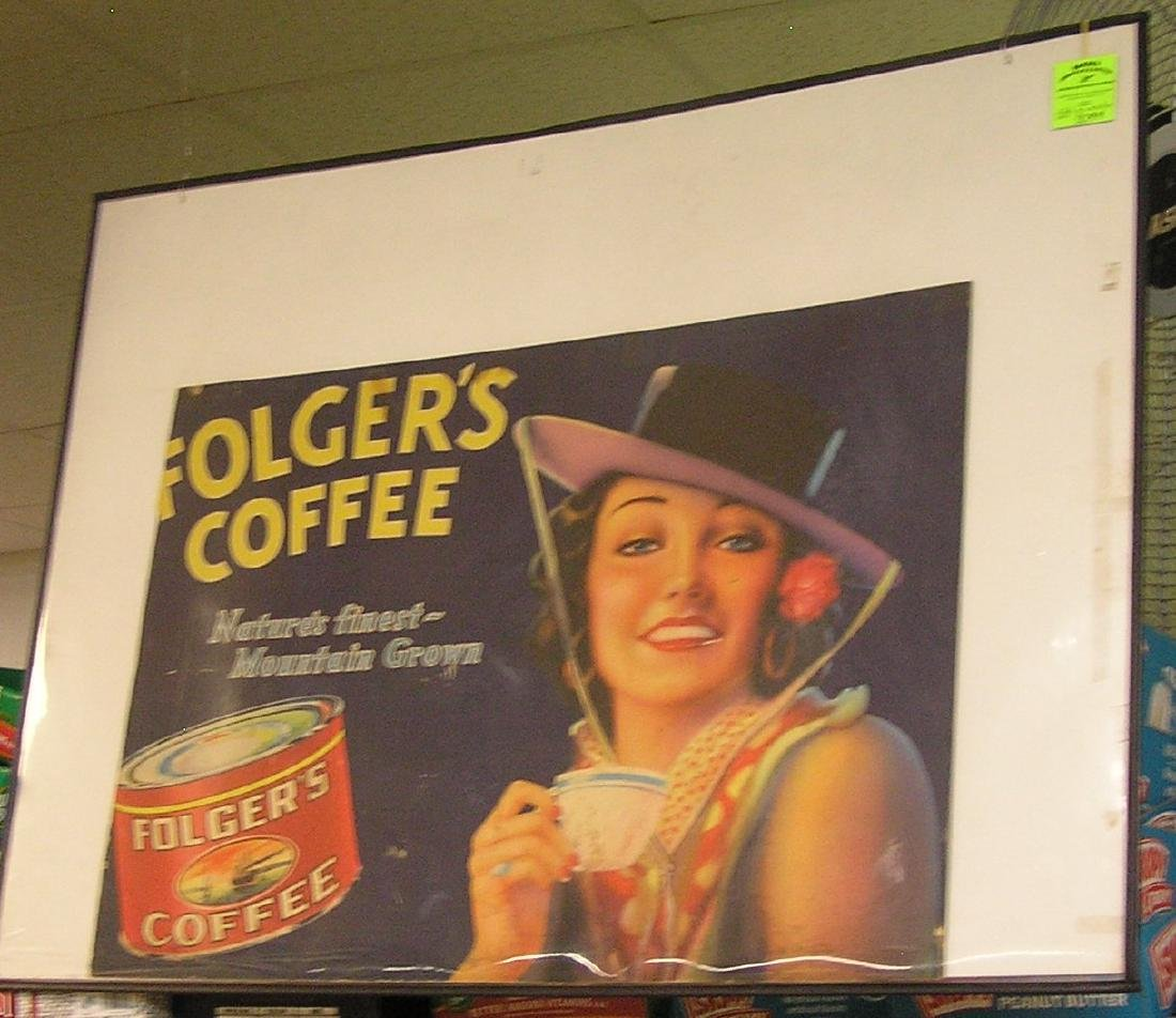 Early Folgers Coffee advertising store display sign