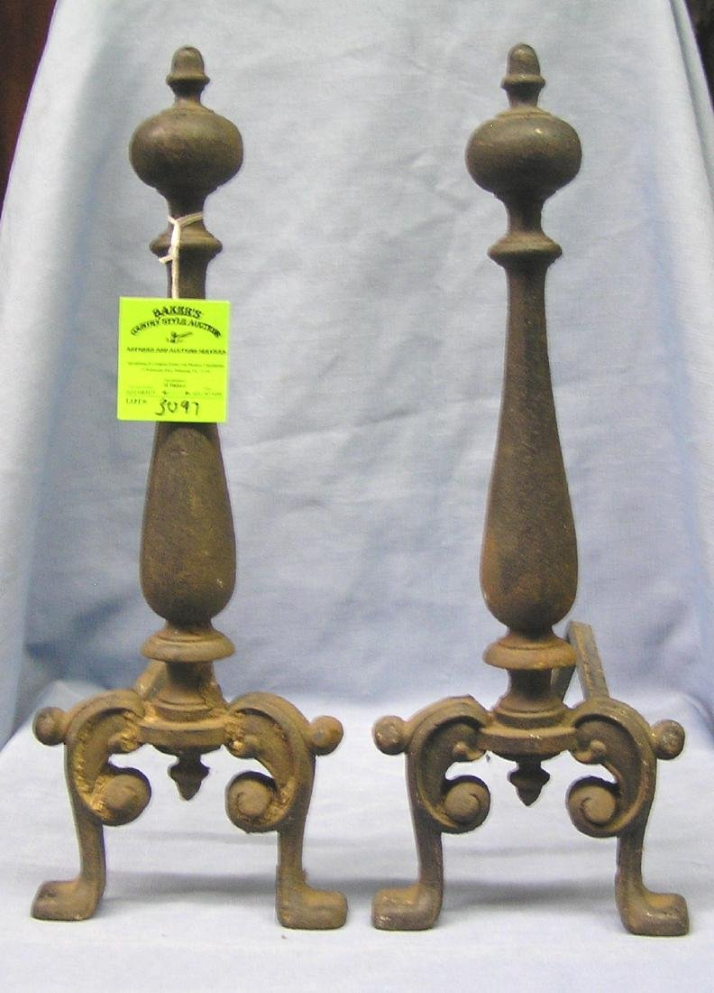 Pair of antique cast iron fireplace andirons
