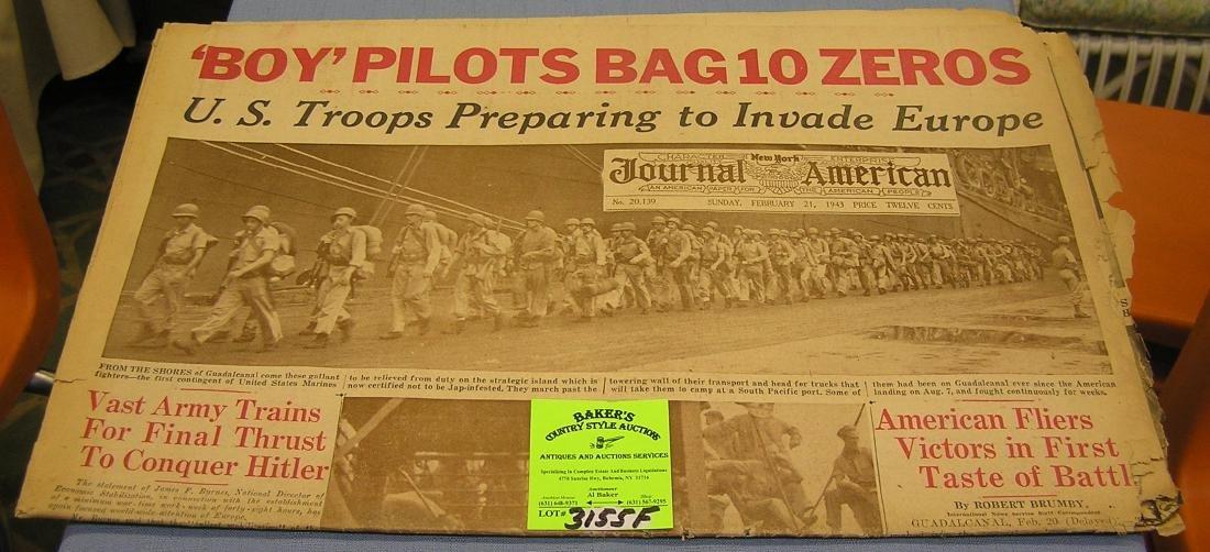 Vintage WWII era newspaper dated 1943