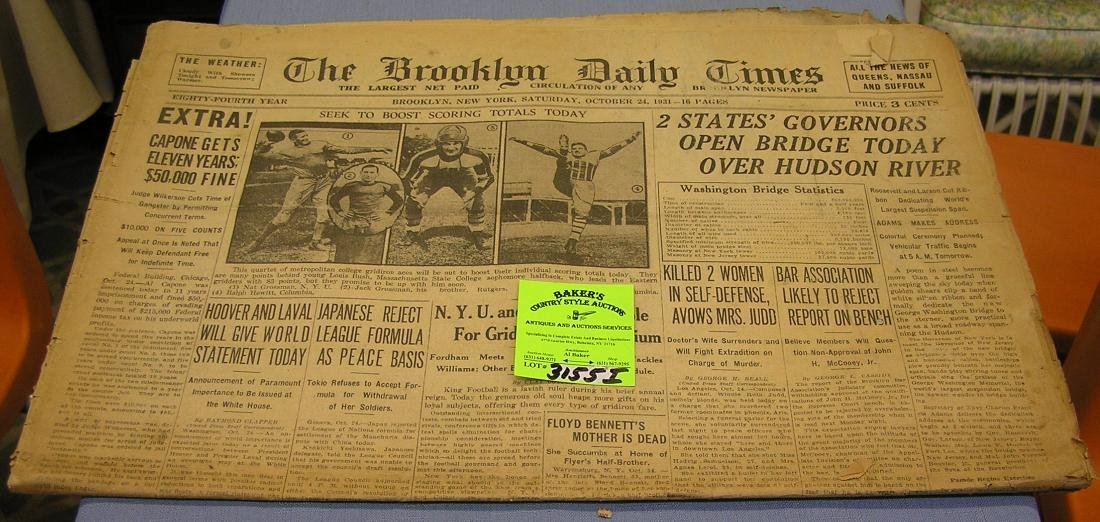 Vintage pre war newspaper dated 1931