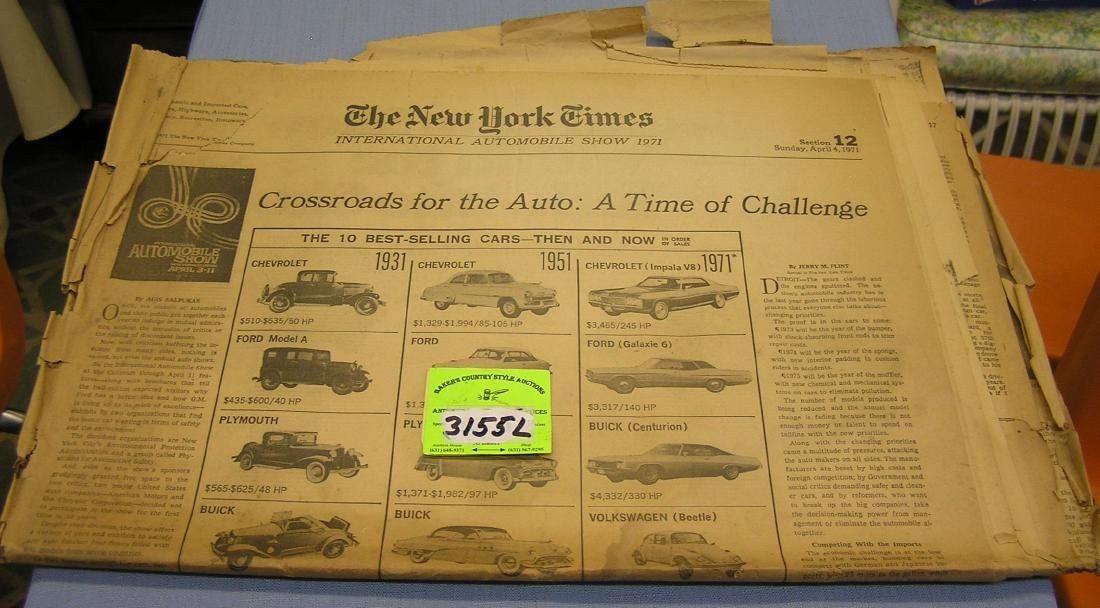 NY Times newspaper covering the 1971 car show