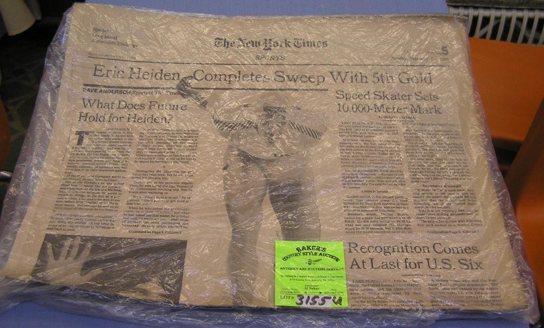 NY Times Eric Heiden 5 gold headlines and clippings