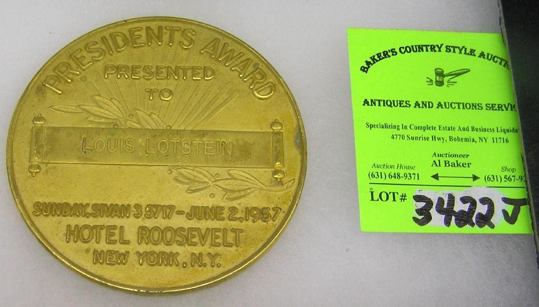 Solid bronze medallion Jewish President's award