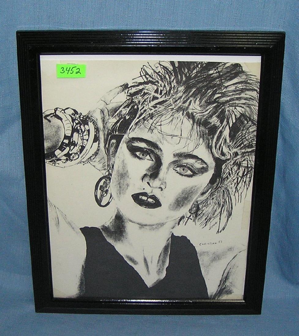 Madonna framed artist print signed Christian