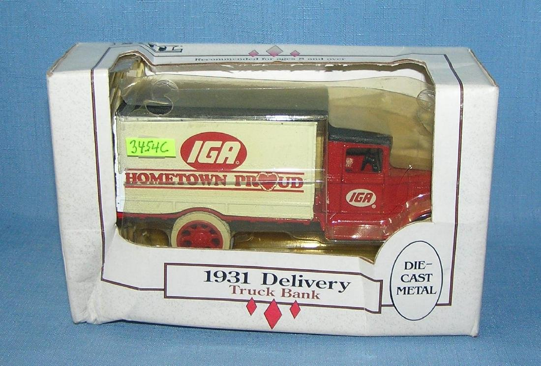 IGA all cast metal 1931 style delivery truck bank