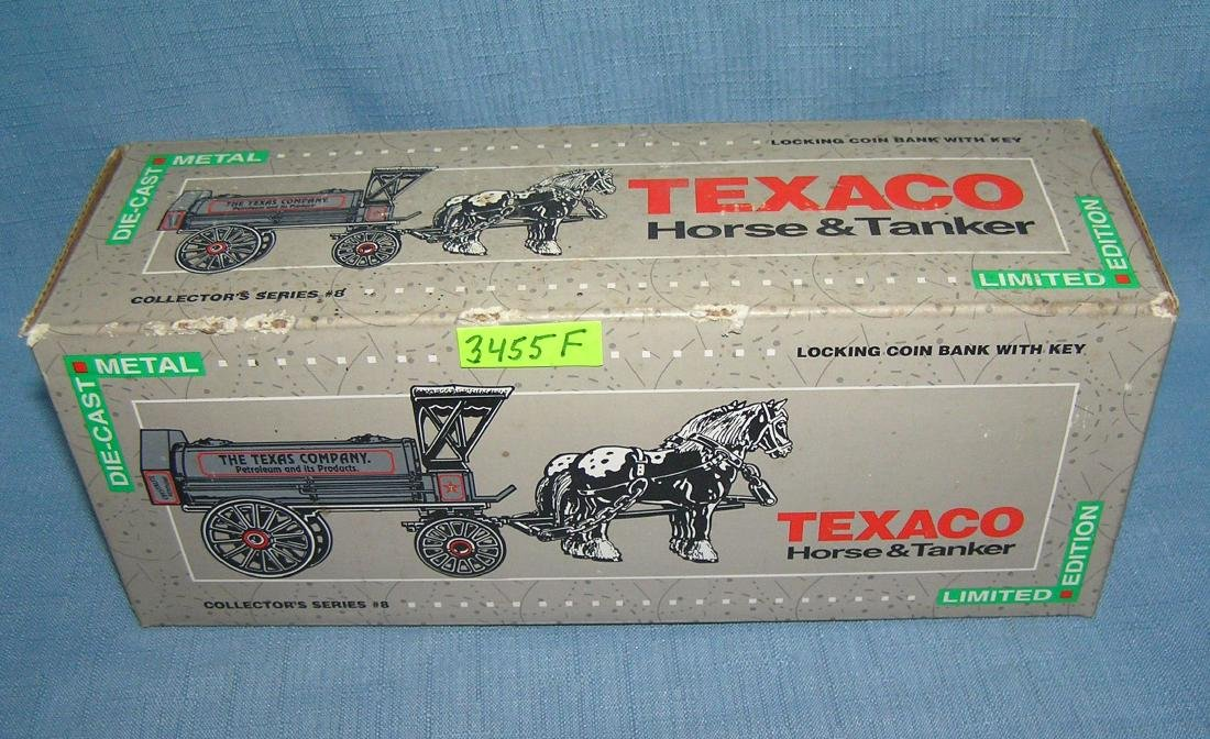 Texaco horse drawn tanker truck bank