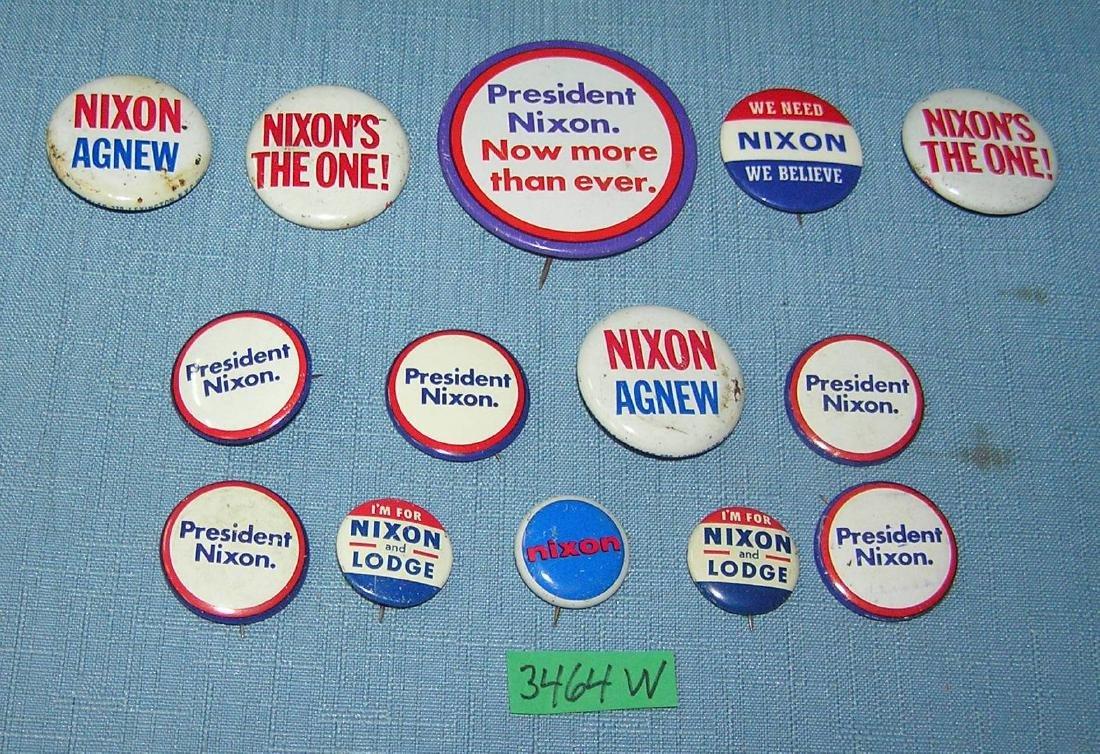Vintage Nixon, Agnew, Lodge political buttons
