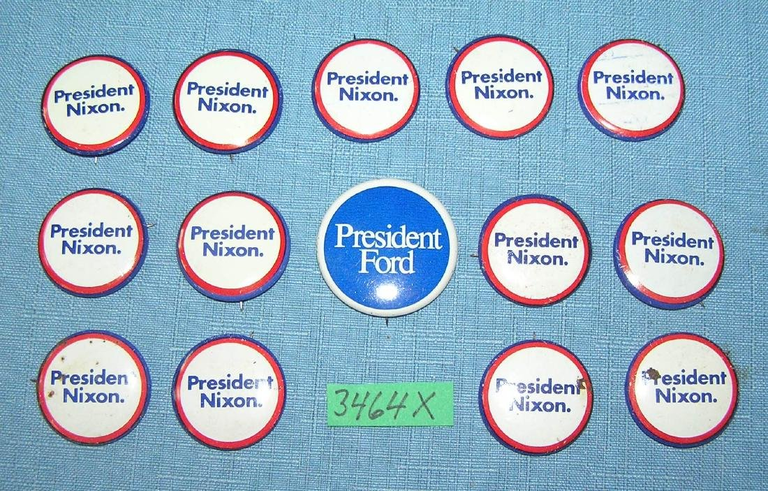 Collection of Nixon and Ford political buttons