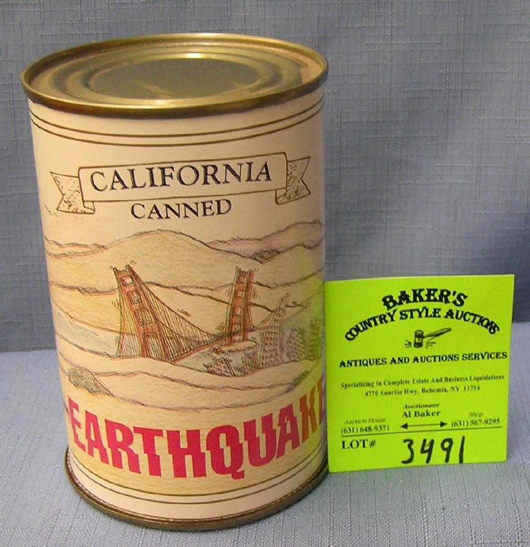 Vintage California Earthquake mechanical tin can