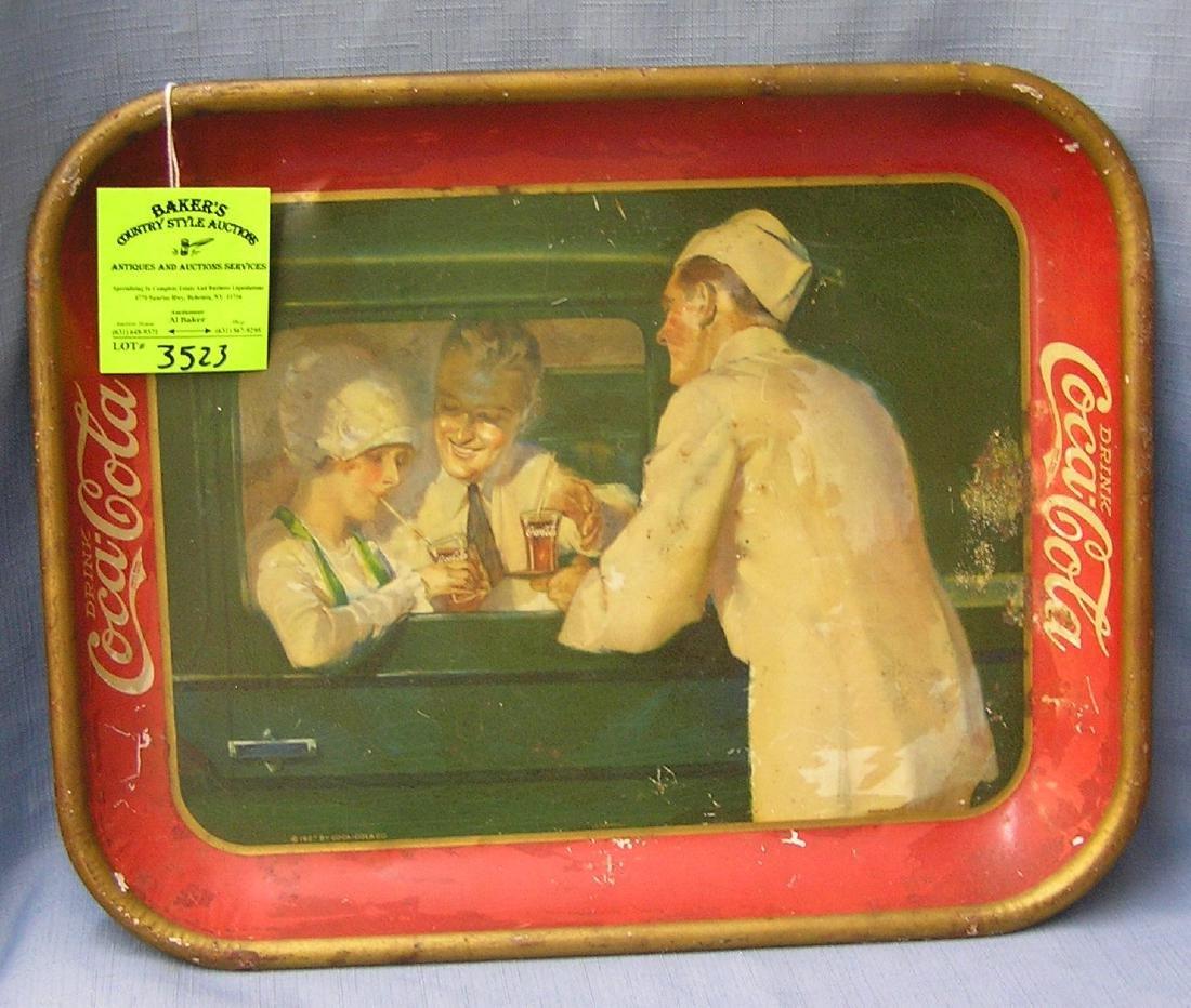 Antique Coca Cola advertising tray circa 1927