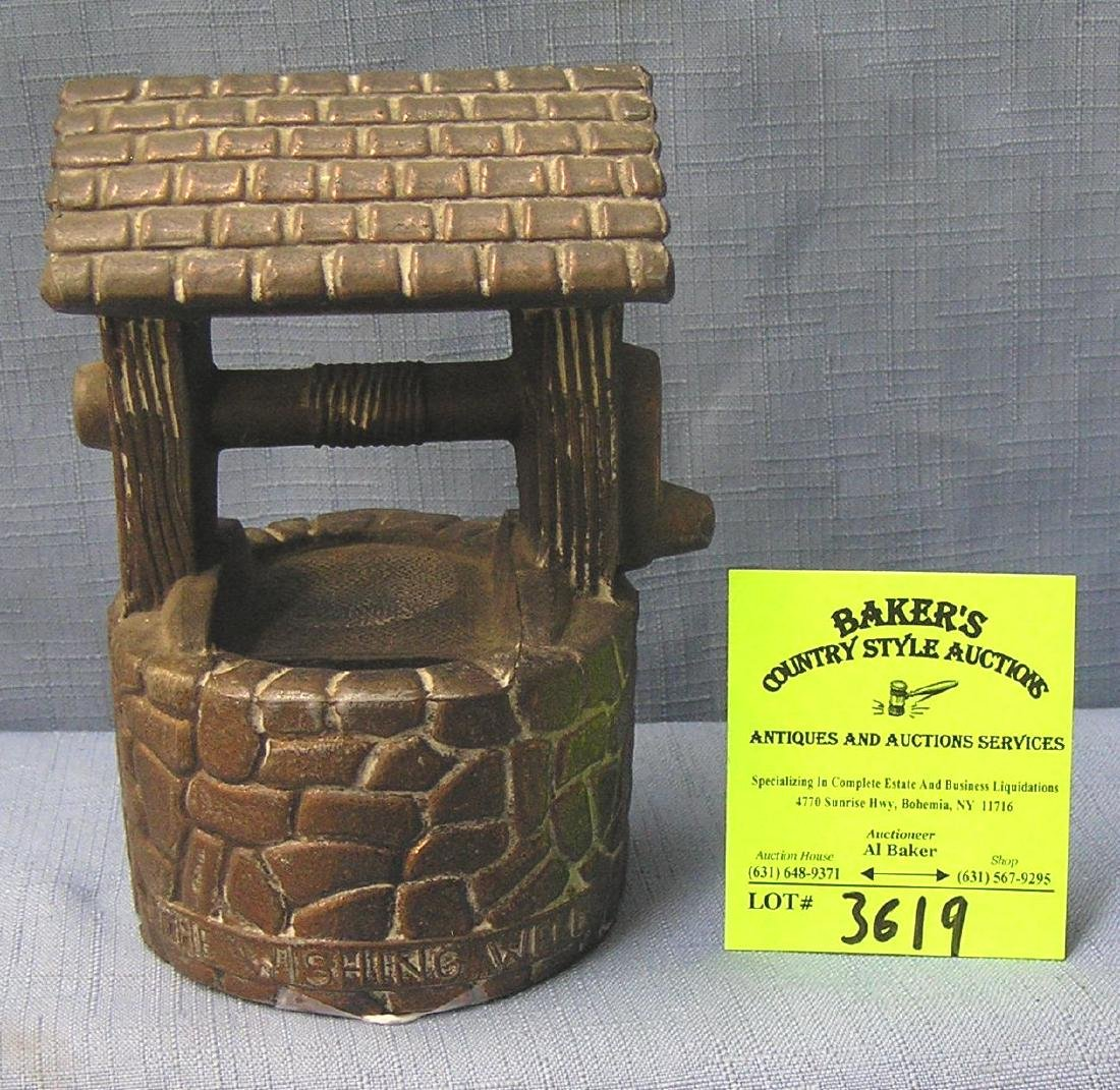 Vintage copper toned wishing well bank