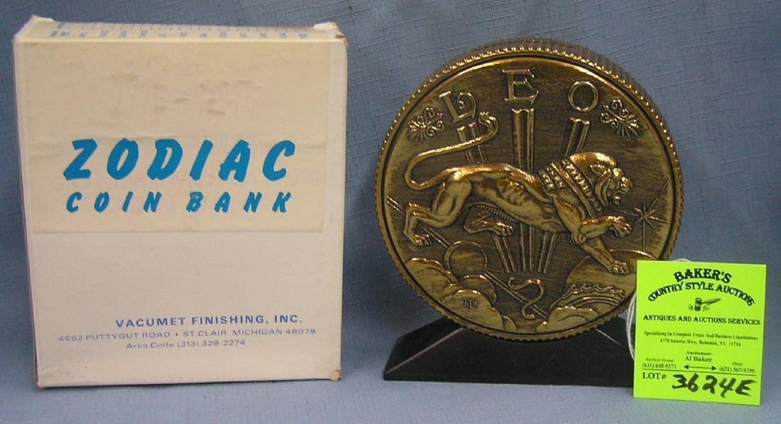 Vintage cast metal zodiac bank Leo