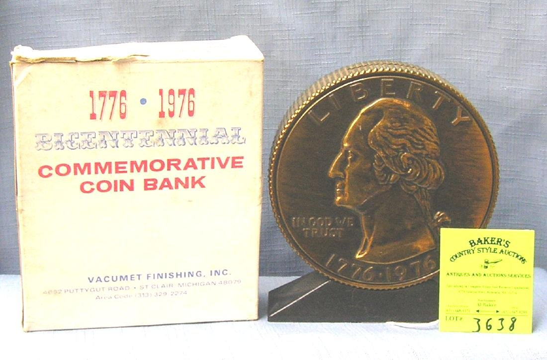 Vintage cast metal Washington bank in original box