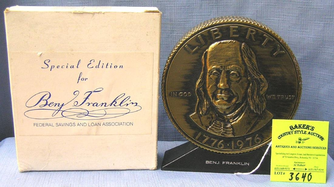 Vintage cast metal Benjamin Franklin bank