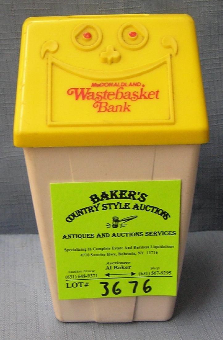 Vintage McDonald's wastebasket bank